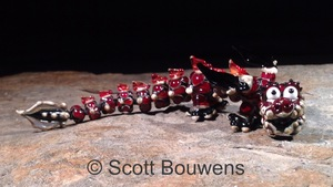 Small Garnet Glass Lampwork Dragon
