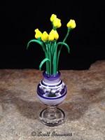 Purple Vase with Yellow Tulips