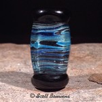 Blue Strata Lampwork Focal Bead with Silver Core