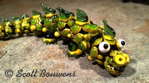 Small Yellow and Green Lampwork Dragon