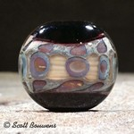 Earthy Lampwork Glass Lentil Focal Bead by Scott Bouwens
