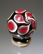 Small Deep Red and Black Lampwork Marble by Scott Bouwens