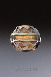 Window Band Lampwork Lentil Bead