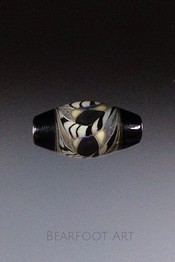 Striped Bicone Lampwork Focal Bead