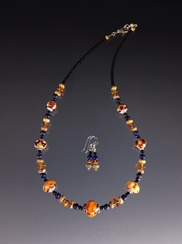 Blue and Amber Lampwork Necklace Set