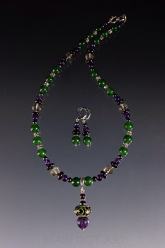 Jade and Amethyst Lampwork Necklace