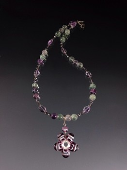 Purple Flower Pendant Lampwork Necklace