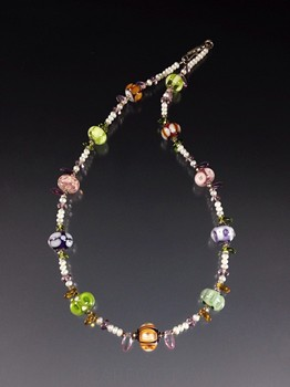 Pastel Coloful Mix Lampwork Necklace