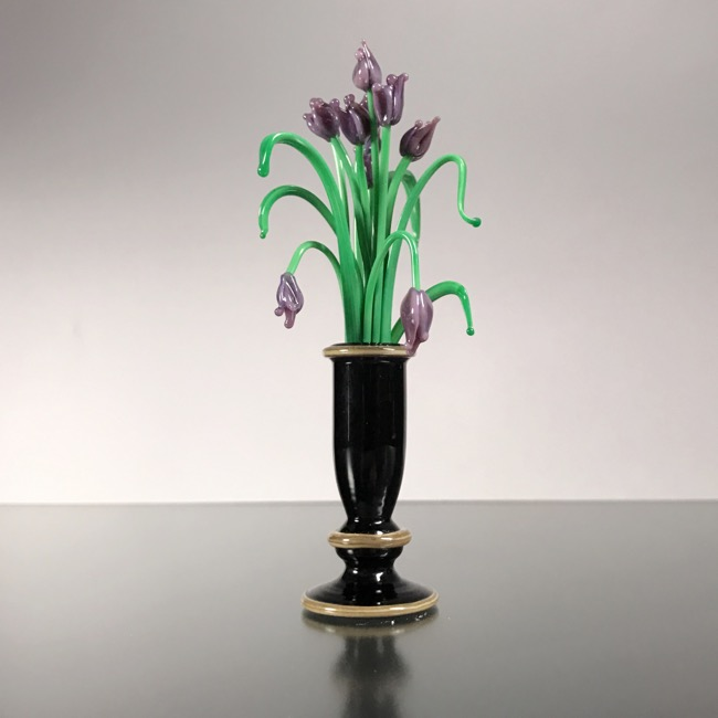 Mini Black Glass Vase with Purple GlassTulips