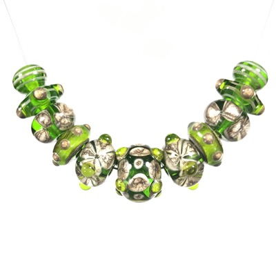 Green with Silvered Ivory glass beads - #106