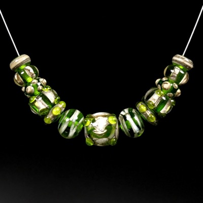 Green and Silvered Ivory Set #107