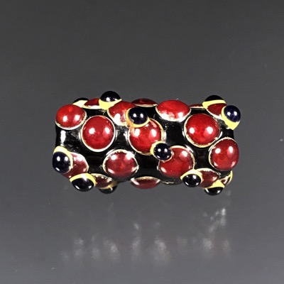 F105  Red and Black Lampwork Cylider Focal Bead