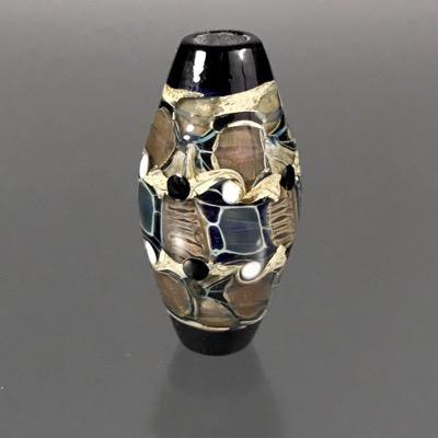 F101  Galaxy Lampwork Bicone Focal Bead