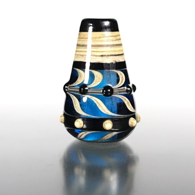 F102 - Aqua Space Gem Conical Lampwork Focal Bead