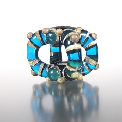 F107 - Aqua Blue Space Gem Lampwork Bridge Bead Focal