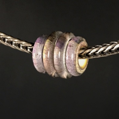 F106 - Small Banded Space Gem Lampwork Bead
