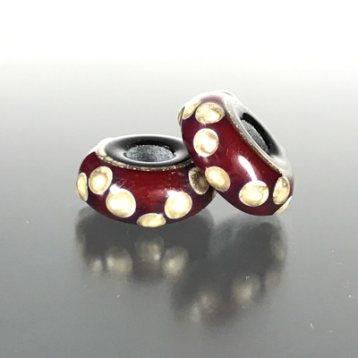 PR101 - Red and Black Lampwork Bead Pair with Silvered Ivory