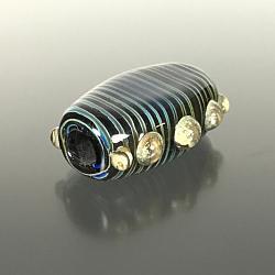 F108 - Flat Tab Blue Strata Lampwork Focal Bead