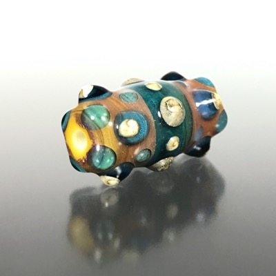 F114 - Aqua and Silvered Ivory Lampwork Focal Bead