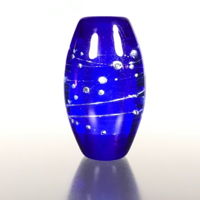 F116 - Cobalt Blue with Fine Silver Lampwork Focal Bead