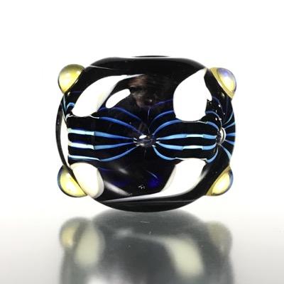 F117 - Blue Strata Lampwork Lentil Focal Bead