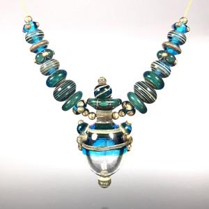 VPS - #121 Aqua Lampwork Vessel Pendant Set