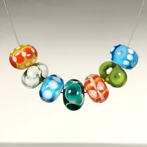 Set - #121 Mixed Bright Lampwork Glass Bead Set