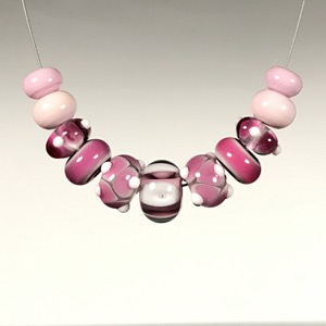 Set - #120 Pink Lampwork Glass Bead Set