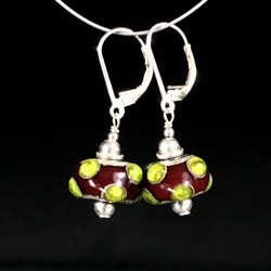 Earrings -Red and green #107