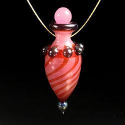 Vessel Pendant - Pink with Metallic Bumpies