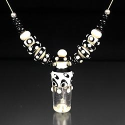 Black, Ivory, and Clear Bottle Pendant