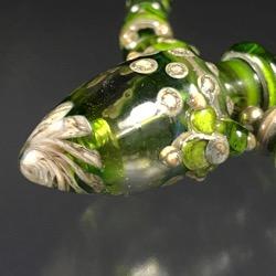Vessel Pendant Set # 113 - Green & SIS Glass