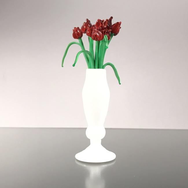 Mini glass vase with tulips